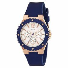 Guess W0149L5 Women's Silver Dial Blue Silicone Band Quartz Watch