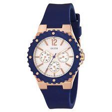 Guess W0149L5 Women's Silver Dial Blue Silicone Band Quartz Watch