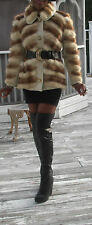 Unique Designer white cream & Brown Mink Fur Coat Jacket Bolero stroller XS 0-2