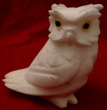 VTG CARVED ALABASTER OWL FIGURINE YELLOW PLASTIC EYES