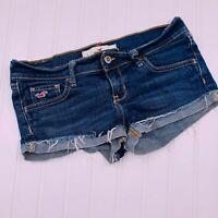 Hollister Socal Stretch Cuffed Denim Shorts 26 Raw Hem Low Rise Dark Wash Blue
