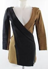 NWT Donna Karen Long Sleeve Black & Brown Surplice V-Neck Shirt Size 4