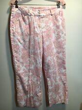 Jones New York Sport Stretch Women's Pink Paisley Design Capri Pants Size 4