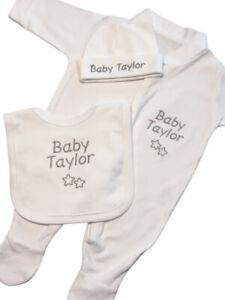 Personalised Sleepsuit Babygrow Hat Bib Boy Girl Clothes Baby Gift Set Stars