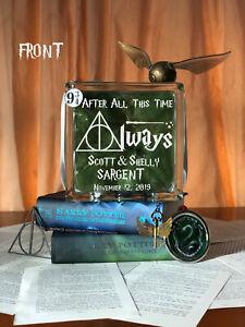 Harry Potter Slytherin Glass Block Wedding Shower table Centerpiece Hogwarts