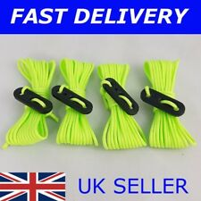 NEW X4 EXTRA LONG 4X 4.8M GREEN / YELLOW Guy Line Ropes Tent Camping bright rope