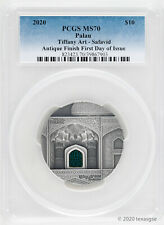 2020 $10 Palau Tiffany Art Safavid 2oz 999 Silver PCGS MS70 First Day of Issue