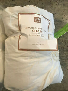 Pottery Barn Teen Ruched Rosette Euro Ivory Sham NEW 2 Available