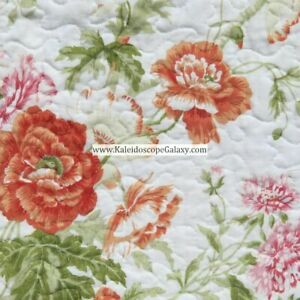 LAURA ASHLEY 3pc FULL/QUEEN QUILT ~ PINK ORANGE WHITE GREEN FLORAL COTTAGE