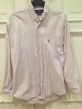 Ralph Lauren Uomo Camicia Big Shirt RIGATI ROSA TG. 15,5/33 100% Cotton