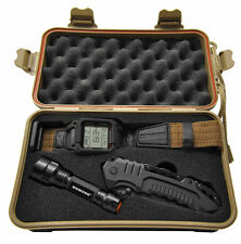 Humvee Digital Recon Watch Set Tactical Knife & Flashlight Survival Set Coyote-