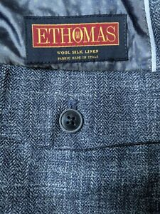 NEW 46R Joseph Abboud Check E. Thomas Italy SILK LINEN WOOL Blazer Coat Jacket