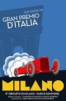 Milano race 1937 Vintage Illustrated Travel Poster Print Framed Canvas