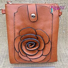 Brown Rose Small Bag with Mobile Phone Spectacle Holder Long Cross Body Strap
