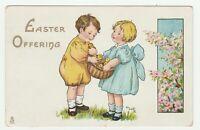 Vintage Postcard Easter Children with Basket of Chicks Raphael Tuck MaFR