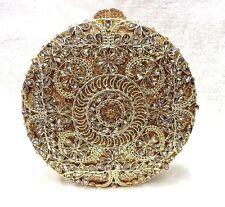Gold~3D Floral Circle shape Handmade Austrian Crystal Evening Cocktail Party Bag