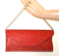 POCHETTE ROSSA cristalli strass donna borsello borsa shimmer red clutch bag G56