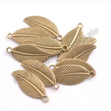 Tibetan Silver Leaf Shape Charms Pendants 27.5X12MM D3144