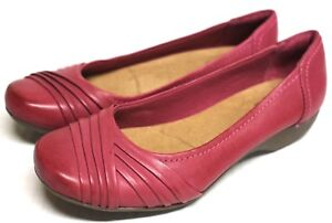NEW Clarks Women 6.5M $95 Shoes Flat Loafers Leather Slip On Pink Bendables
