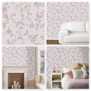"Heather, Pink & Silver Designer K2 ""Esme Heather"" Wallpaper by Holden Decor11421"