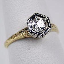 Art Deco Diamond Solitaire Engagement Ring 14 kt Gold Size 6 1/2 #9921