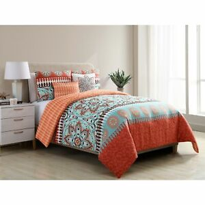 Twin XL Full Queen King Bed Orange Blue Paisley Boho Medallion 5pc Comforter Set