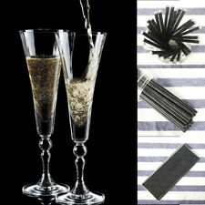 25PCS Solid Black Paper Straw Bar Party Birthday Disposable Biodegradable Straws