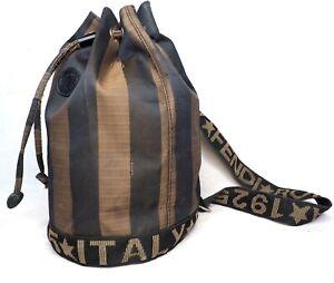 FENDI shoulder backpack nylon pequin brown black striped gold sling bag zucca