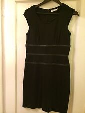 Calvin Klein Cap Sleeve Dress with Faux Leather detail Sz 6 Black Above Knee