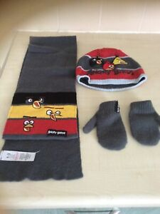 Angry Birds Hat Scarf Glove Set Age 1.3 Yrs New Without Tags