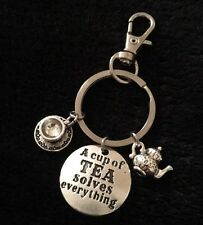 A Cup Of Tea Solves Everything Stamped Charm Keyring Key Teapot Teacup Love Tea