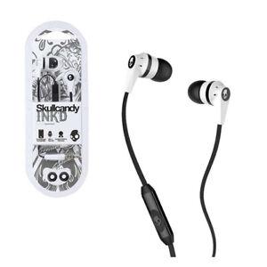 Skullcandy Ink'd 2 Earbud Headphones Microphone Remote Black Silver White