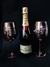 MOET Chandon Brut Champagne Bottiglia 0,75l 12% vol + 2 bicchieri di vetro rame