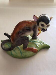 Lynn Chase Hollohaza Hand Painted Monkey On Leaf Figurine MWOT