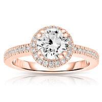 Natural 1.20 CT Real Diamond Wedding Rings  14K Rose Gold Band Size P.5 N.5 M