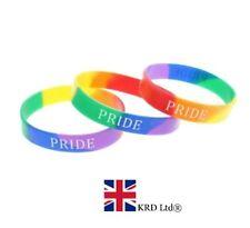 RAINBOW PRIDE WRISTBAND Gay Lesbian Bracelet LGBT Parade Freedom March NEW UK