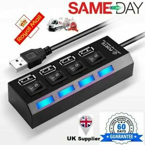 Multi 4 Port USB Hub Hi-Speed USB 2.0 Power Splitter Expansion Desktop PC Laptop