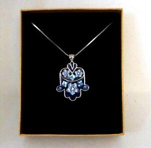 """Hamsa Blue Enamel & Rhinestone with 16"""" Chain"""