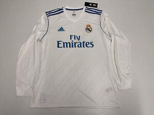 NWT Men's Adidas Real Madrid 2017 Sz L Long sleeve White Soccer Football Jersey