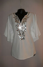 NWT $109 WOMANS CHICOS BEADED ROXIE V-NECK CHANTI PONCHO TOPS BLOUSES S/M