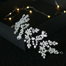 Bridal Hair Vine Simulated Diamonds Wild Flower design Rhodium Plated