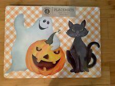 Set Of 4 Benson Mills Halloween Cat Ghost Pumpkin Cork Placemats NEW