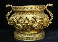 Chinese Fengshui Bronze Brass Ruyi Dragon Incense Burner Censer Crock Bowl Pot