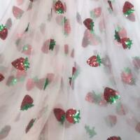 Lovely Strawberry Sequins Tulle Lace Fabric DIY Girl Tutu Dress Summer Dress 1YD