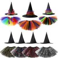 Girls Kids Halloween Witch Tutu Costume Fancy Dress Skirt Cosplay Party Outfits