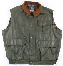 VINTAGE WOOLRICH WAXED PLAID WOOL LINED SNAP OUTDOORS VEST MENS XL HUNTING