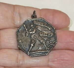 WWII Era 1943 Sterling Silver Pendant Medal Award Queens Baseball Queensboro Ny