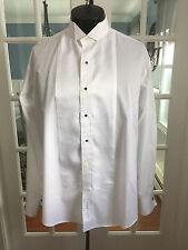 MEN VINTAGE OSCAR DE LA RENTA FORMAL HERRINGBONE WING TIP TUXEDO SHIRT L4 NB1