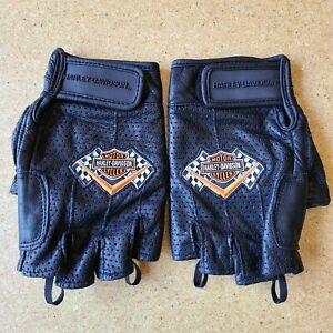 Women's Harley Davidson Leather Gloves, Black / Orange, 1/2 Fingers, Size Medium