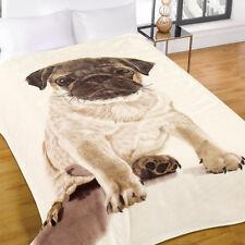 Dreamscene Pug Faux Fur Throw Soft Large Mink Dog Sofa Bed Blanket 150 x 200cm